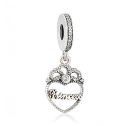 Wholesale heart crown pendant 925 - Princess Heart Charms Pendants Authentic 925 Sterling Silver Jewelry Pave AAA CZ Dangle Crown Heart Beads For DIY Bracelets Accessories