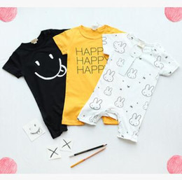 Wholesale Toddler Girls Christmas Clothes - Ins Baby Romper 2017 Summer Rabbit Happy Letter Printed Baby Onesies Newborn Girls Jumpsuit Toddler Infant Outwear Bodysuit Baby Clothes