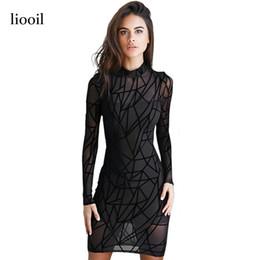 Wholesale Back Zipper Turtleneck - New Black Mesh Women Dress 2017 Autumn Geometric See Through Long Sleeve Turtleneck Back Zip Bodycon Sexy Club Dresses 17411