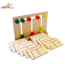 Wholesale Game Move - Wholesale-Wooden toy birthday gift Montessori baby funny early learning tool 3 color sorting array move cake match card pattern game 1set