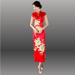 Wholesale Cheongsam Vestido - Embroidery Cheongsam Chinese Traditional Dress Long Silk Qipao Dresses Robe Chinoise Vestido Oriental Red Bride Wedding Qi Pao