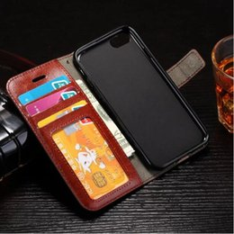 Wholesale Credit Card Book - For Iphone 7 plus 6S Genuine Leather Wallet Case Magnetic Closure Credit Card Holder Flip Book Stand Folio Cover for Samsung S6 S7Edge Note5