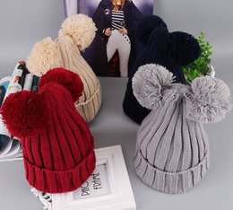 Wholesale Cute Wool Beanie - Cute Mickey Ears Beanies Pom Pom Crochet Kids Hats Girls Fashion Handsome Big Boys Hats And Caps Winter Knitted Hats Casual Cap