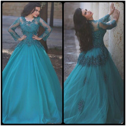 Wholesale Lace Long Sleeve Weding Dress - Long Prom Dresses 2017 Scoop Neck Lace Appliques Beaded Cheap Evening Dresses Weding Party Dress vestidos de baile With Long Sleeve