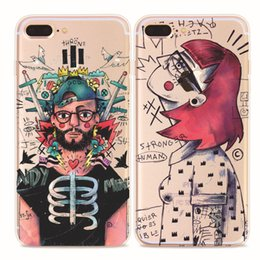 Wholesale Europ Style - Europ style abstracts painting cell Phone Cases for iphone 5S 6S 7 plus cases Crystal TPU ultra thin back cover shell cases 2017 hot sale
