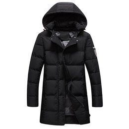 Wholesale Men S Winter Fashion Trends - Wholesale- Hot Winter 2016 men's fashion coat Korean Slim and long sections warm all-match trend coat solid color comfortable hooded jack