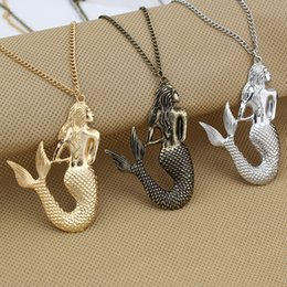 "Wholesale Little Mermaid Wholesale - Wholesale-2015 New Vintage Bronze Gold Silver Fashion Jewelry Little Mermaid 30""Long Necklace EGO Gift for Girls Wholesale Best Quliaty"