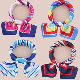Wholesale Silk Neckerchief Square - Wholesale- Hot Sale Brand Design Silk Square Scarf Neckerchief Printed Stripe Plaid Leopard Women's Hair Scarves Bandanas Headwear 50*50cm