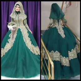 Wholesale Vestido Noiva Manga - Muslim Wedding Dresses Vestido De Noiva Com Manga Longa A Line Wedding Dress Bridal Gowns Long Sleeve Green Tulle And Gold Appliques