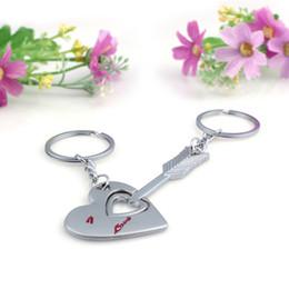 Wholesale wedding arrow - Couple's Arrow Romantic Creative Wedding Couple Keychain Love Heart Key