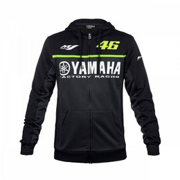 Wholesale Mens Hoodie Jacket Xl - Free shipping 2017 Moto GP Valentino Rossi Black for Yamaha Hoodie Racing Mens Zip-up Sweater