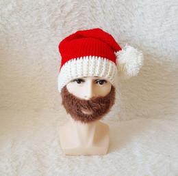 Wholesale Warm Santa Hat - 2017 Hot Novelty Beard Santa Claus Funny Christmas Hats Xmas Party Mask Handmade Winter Warm Gifts