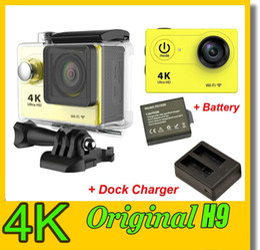 Wholesale Inch M6 - Original EKEN H9 4K Action Camera + Extra Battery + Dock Charger Wifi waterproof Sport DV 1080P 60fps 170 degree wifi camera dvr JBD-M6