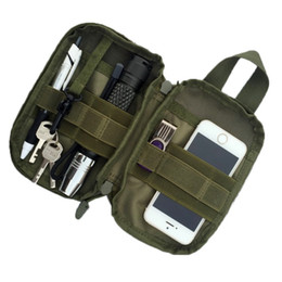Wholesale Military Mobile Phones - 1000D Nylon Tactical Bag Outdoor Molle Military Waist Fanny Pack Mobile Phone Case Key Mini Tools Pouch Sport Bag