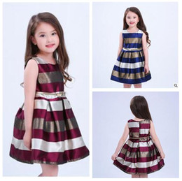 Wholesale Stripes Evening Dress - Girls Dresses Stripe Princess Party 2017 Summer Evening Dresses Sleeveless 2 Colors Kids Clothing 7 Sizes Girls Dresses DHL Free Shipping