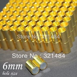 Wholesale Magnetic Clasps Bulk - Bulk 500pcs 7*24mm hole size 6mm Gold plated Tone Leather jewelry tube magnetic clasp end caps for leather cord