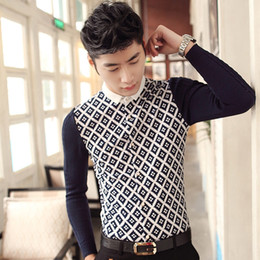 Wholesale Plaid Shirt Trend - Wholesale- Spring 2016 men's casual long-sleeved knit shirt sleeve stitching Slim fashion trend of men's plaid shirt