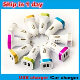 Wholesale auto power adaptor - Car Charger Aluminum Cycle 5V 2A 2 USB Dual port Auto Power Adaptor for Smart phone 50pcs lot