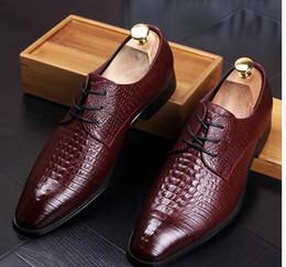 Wholesale Mens Dress Shoes Square Toe - 2018 mens dress shoes genuine leather black Burgundy slip on wedding business fashion male shoes hx11