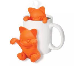 Wholesale Tea Makers Wholesale - KT Cartoon cat tea Infuser Silicone Loose Animal Tea Leaf Strainer Filter Diffuser Makers Tool infuser silicone tea tools KKA2108