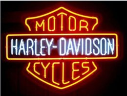 Wholesale Motorcycle Red Blue Lights - NEW HARLEY DAVIDSON MOTORCYCLE REAL GLASS NEON LIGHT BEER BAR SIGN 19''x15''