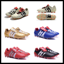Wholesale Ankle Wrap Boots - Wholesale Predator Mania Champagne Pack Soccer Cleats Gold Red Blue Black Football Boots ACE 17+ Purecontrol FG Dragon shoes size 39-45