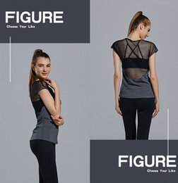 Wholesale Dance Clothes Woman Fitness - Sexy Yoga Clothing Fitness Suit Mesh Type Design Women Aerobic Workout Clothes Dance Gym Sexy Mesh Shirt out172