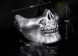 Wholesale Wholesale Plastic Skull - Skull mask Jaw Horror Half Face Shied Terror Masks Plastic Human Skull Skeleton Mask for Halloween Outdoor Party
