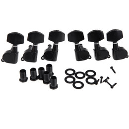 Wholesale Wholesale Electric Guitar Tuner - Wholesale- 6pcs( 3R+ 3L) Zinc Alloy Materia Black Sealed Tuning Pegs Tuner Machine Head Electric Acoustic Guitar Parts & Accessories