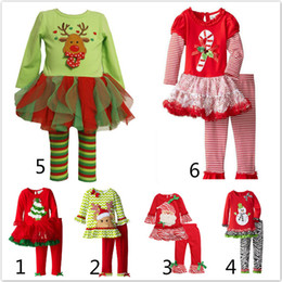 Wholesale Tutu Hot Pants - 2017 Hot long sleeve baby girls Xmas Outfits Children Christmas 2pcs sets clothes white sanda reindeer tree dress striped ruffle pants