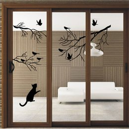 Wholesale Decorative Birds Decals - Handmade Graphic vinyl wall sticker of Tree Birds Cat for kids room decorative tree wall decals mural vinilo pegatinas de pared 9415