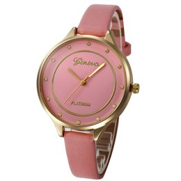 Wholesale Wholesale Luxury Glass Gifts - Luxury Geneva PU Leather Quartz Watch Analog Watches with PLATINUM Exquisite Thin strap Wristwatch For Christmas Party Gift