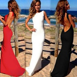 Wholesale Evening Night Dress - Wholesale- 2017 Sexy Evening Party Women Maxi Dresses Bare Back Sleeveless Prom Robe Women Bodycon Long Dress Summer Dress Black White Red