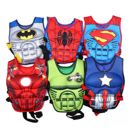 Wholesale Buoy Vest - wholesale Kids baby colorful cartoon Life Jacket preserver superman water Swimming Life vest for training swim Children life vest buoy 2-8Y