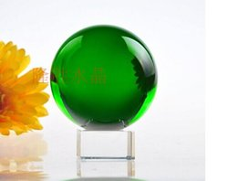 Wholesale Green Crystal Sphere - New Hot 60mm crystal Good Luck Rare Green Ball Natural Crystal Sphere +Stand Gift For Home Decor Gift For Friends