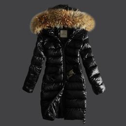 Wholesale White Parka Fur Hood - Newest mo*er female parka jackets with belt slim midi long white duck down coats real raccoon fur collar hood parkas
