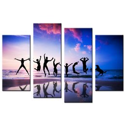 Wholesale Pictures Happy - Happy Jumping People Canvas Printing HD Beach Scenery Canvas Prints Interior Decoration Canvas Artwork 4-Panel