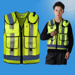 Wholesale Yellow Reflective Vest - Motorcycle High visibility safety Reflective vest Lattice screen cloth Safety clothing zipper reflective work vest HZYEYO D9902