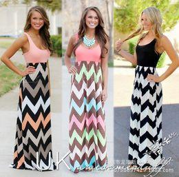 Wholesale Maxi Black Stripe Dress - Maxi Dress Casual Dresses Vestidos Women Wave Stripe Bohemian Sexy Dress Round Collar Summer Sleeveless Floor Length