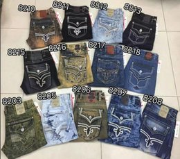 Wholesale European Clear Crystal - Free Shipping Mens Robin Rock Revival Jeans Crystal Studs Denim Pants Designer Trousers Men's size 30-42 New