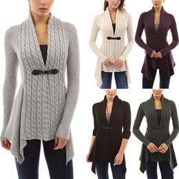Wholesale Drape Neck Sweater - Casual Slim Women Fashion Bandage Cardigan Knit Geometric Irregular Hem Long-sleeved Sweater for Spring Autumn Winter