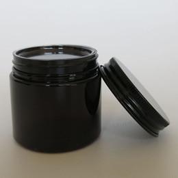 Pot en aluminium cosmétique en gros en Ligne-Vente en gros- 30pcs / lot 50g pot de crème d'ambre d'ANIMAL FAMILIER, récipient cosmétique de 50cc avec des couvercles en aluminium noirs