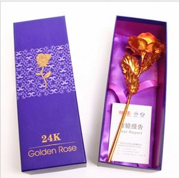 Wholesale 24k Plated Red Gold - 24k Gold Foil Plated Rose Flower Multi Colors Artificial Flowers For Lover Valentine Day Craft Lovely Gift 1 8ag B R