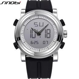 Wholesale Sinobi Male Watch - SINOBI Sports Chronograph Men's Wrist Watches Digital Quartz Boys Military Wristwatch Diving Silicone Watches Top Luxury Brand Male Clock