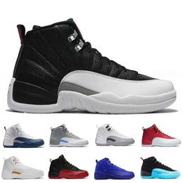 Wholesale Mens Cow Leather Boots - [With Box] Wholesale mens basketball shoes air retro 12 TAXI ovo white Flu Game gamma blue Playoffs French Blue gym red Barons sneaker Boots