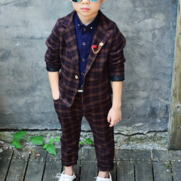 Wholesale Wedding Baby Boy Clothes - Hot Sale Autumn Winter Children's Sets Baby Boy Clothes Kids Wedding Party Formal Clothing Suit Coat+Pants+Breastpin VJ0185