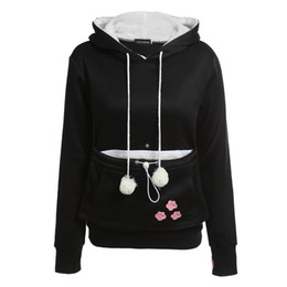 Wholesale Hoodies Ears For Women - Wholesale- Cat Lovers Hoodies With Cuddle Pouch Dog Pet Hoodies For Casual Kangaroo Pullovers With Ears Sweatshirt XL Drop Shipping