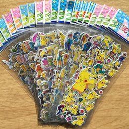 Wholesale Tile Lighted - Poke go 3D Stickers new children cartoon pocket monster Pikachu Charmander Jeni turtle 3D PVC Stickers