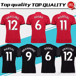 Wholesale Martial Uniforms - New #19 RASHFORD home red Soccer Jersey 17 18 #6 POGBA away black Soccer Shirt Customized #9 LUKAKU #11 MARTIAL football uniform Size S-XXXL