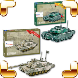 Wholesale 3d Puzzle Tank - New Coming Gift Military Force Series 3D Model UK Tank Plane Puzzles DIY Model Educational Toy Army Collection Smart Game Paper PCS Built Up